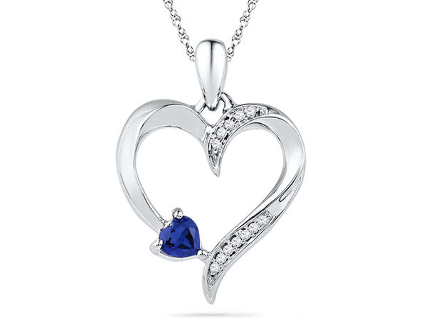 Lab Created Blue Sapphire Heart Pendant Necklace 1/5 Carat (ctw) in Sterling Silver