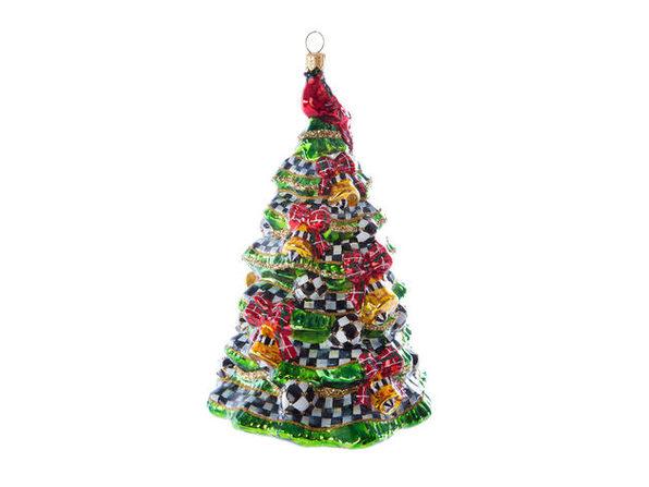 MacKenzie-Childs Glass Ornament - Happy Holidays Tree