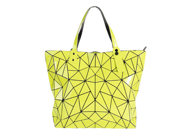 Geo Shaped Tote with Zipper - Lime - Product Image