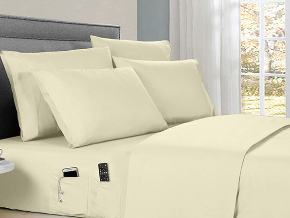 Kathy Ireland 6-piece Smart Sheet Sets w/ Pocket - Ivory - Queen - Product Image