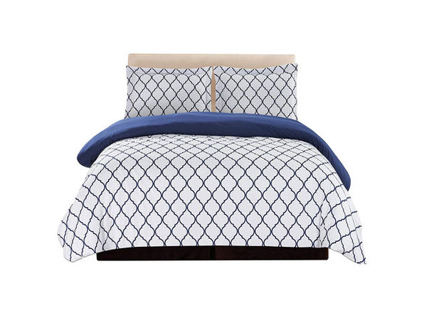 Lux Decor Collection 3-Piece Duvet Set White/Blue - Queen - Product Image
