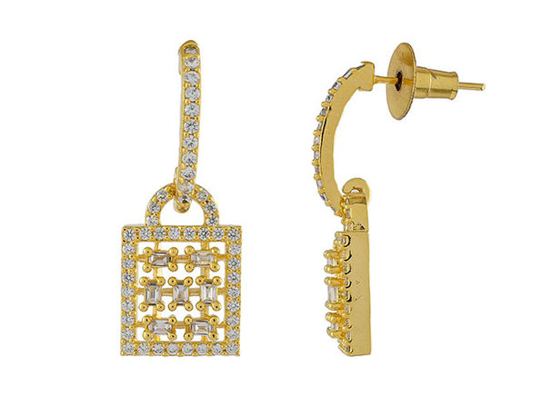 Geometric Round Buguette Cubic Zirconia Stud Earrings (Gold)