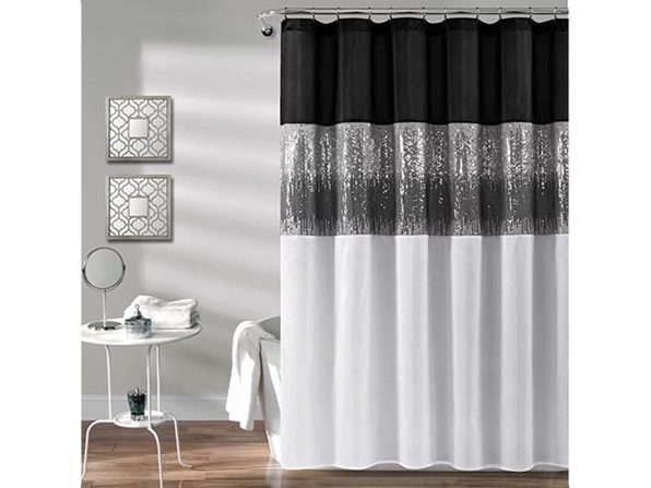 "Lush Decor,Shower Curtain Sequin Fabric Shimmery, 72"" x 72"" - Black & White (No Box)"