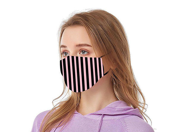 Reusable Ear Loop Face Mask 8-Pack Black & Pink Stripes - Product Image