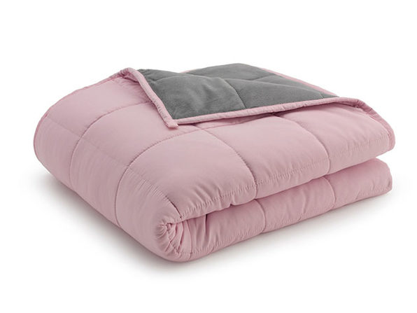 Weighted Anti-Anxiety Blanket (Grey/Pink, 15Lb)
