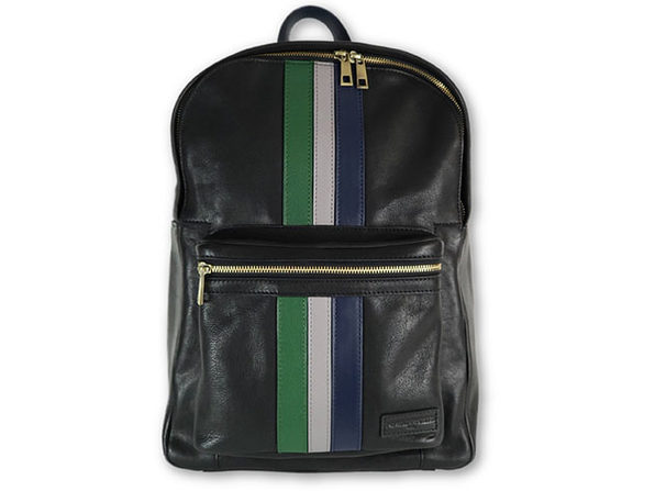 Black Leather Striped Backpack