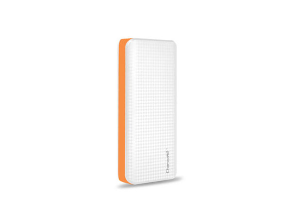 Portable 10,000mAh Power Bank (White & Orange)