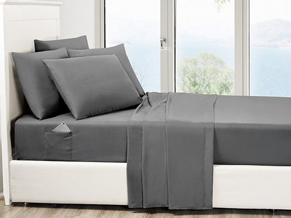 6-Piece Gray Ultra-Soft Bed Sheet Set With Side Pockets