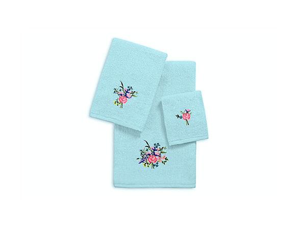 3-Piece Zero Twist Embroidered Towel Sets - Aqua - Roses - Product Image