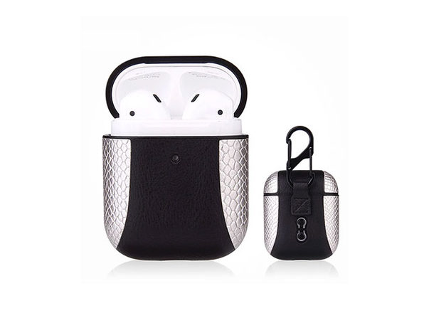 iPM PU Leather Protective Case For Airpods - Silver - Product Image