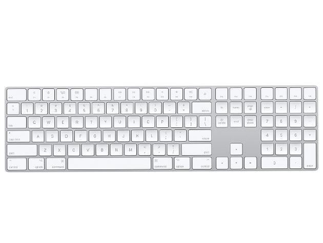 An Apple wireless keyboard.