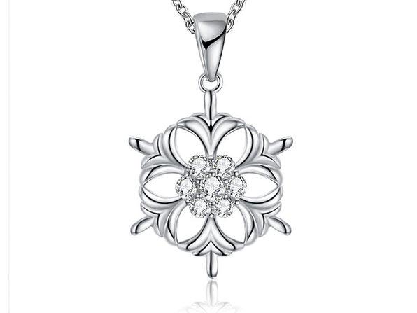 Circular Snowflake Necklace with White Swarovski Elements