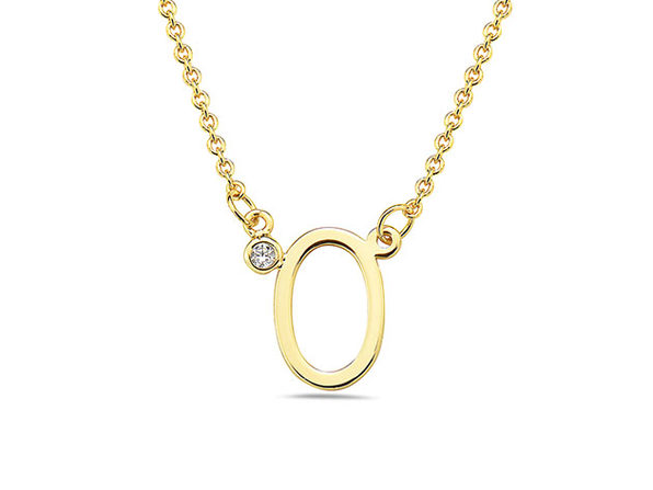 18K Gold Plated CZ Initial Necklaces - O - Product Image