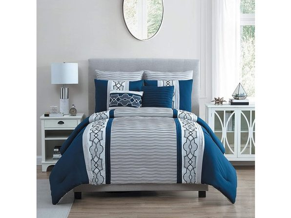 VCNY Home Carmie Comforter Set King Navy