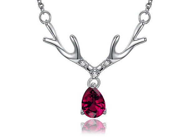 Dangling Antlers Necklace with Red Swarovski Crystal