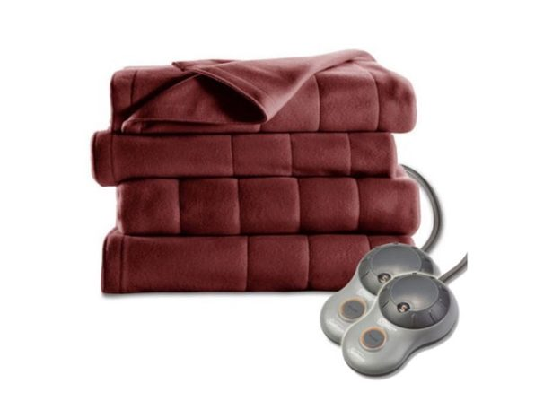 Sunbeam Royal Dreams Quilted Fleece Heated Electric Blanket - Garnet