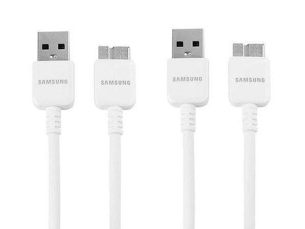 Samsung USB 3.0 Data Cable for Galaxy S5/ Note 3, 2 Pack - Non-Retail Packaging - White