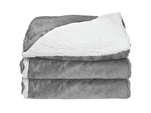 Sunbeam Electric Heated Sherpa Plush Warming Throw Blanket TB16 - Grey Flannel