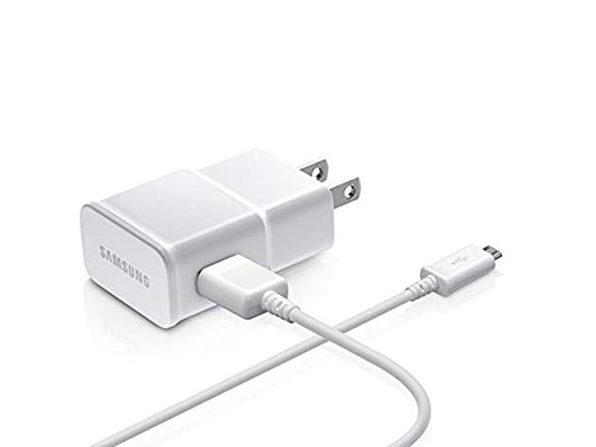 Samsung Charge Adapter with 5 Ft USB Sync Charging Cable - Non-Retail Packaging - White