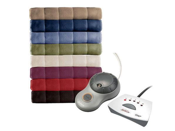 Sunbeam Heated Electric Blanket Royal Dreams Quilted Fleece Queen Garnet Washable Auto Shut Off 10 Heat Settings - Garnet