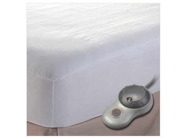 Sunbeam Non-Woven EasySet Thermofine Heated Electric Mattress Pad - King Size Auto Shut Off 10 Heat Settings - White