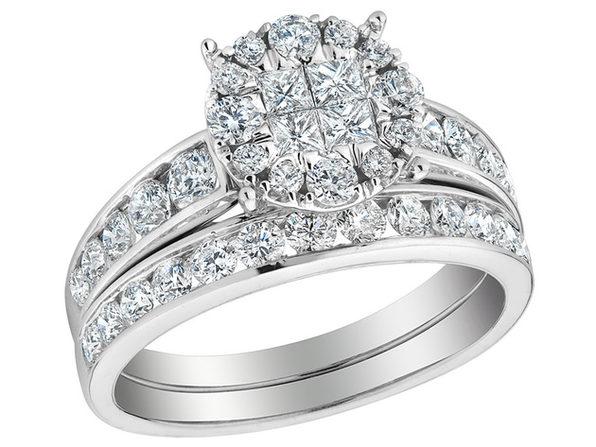 Diamond Engagement Ring & Wedding Band Set 1.40 Carat (ctw) in 14K White Gold (3.0 Carat Look) - 8