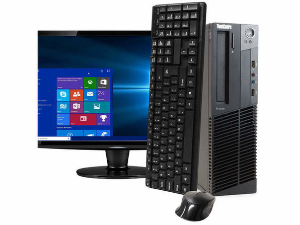 "Lenovo ThinkCentre M92 Desktop PC, 3.2GHz Intel i5 Quad Core Gen 3, 8GB RAM, 120GB SSD, Windows 10 Home 64 bit, 22"" Screen (Renewed)"