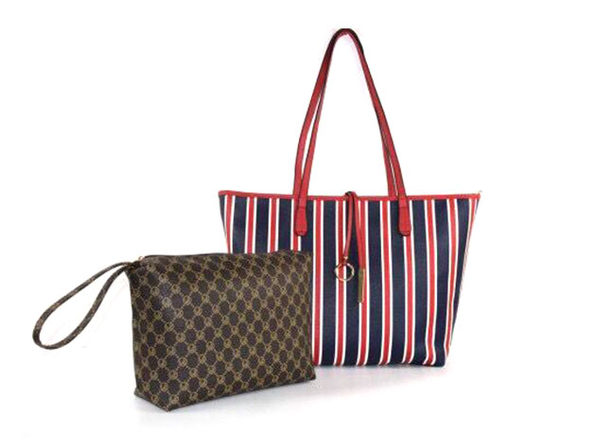 Striped Collection Tote And Wallet Set Red - Product Image