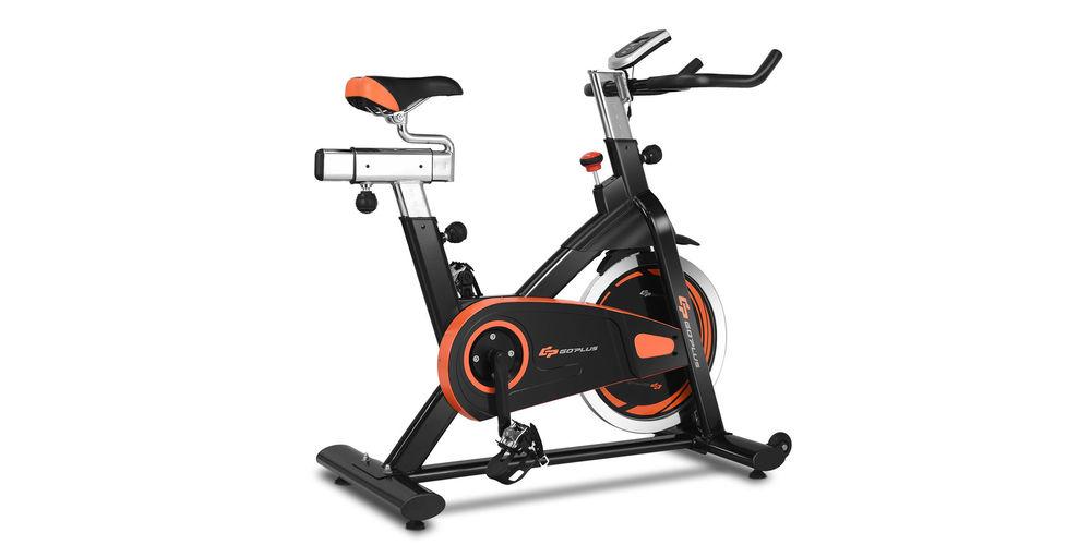 A black and orange exercise bike