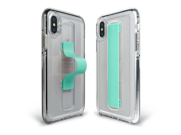 BodyGuardz Apple iPhone XS Max SlideVue Case, Compatible for Wireless Charging, Clear/Mint