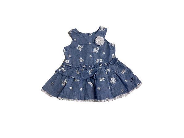 Calvin Klein Baby Girls Floral-Print Denim Tunic Blue Size 24 Months