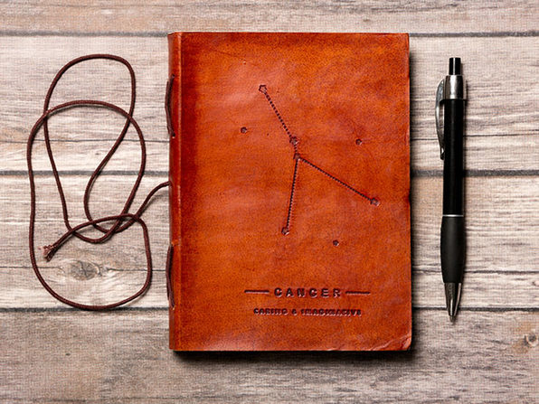 Zodiac Sign Handmade Leather Journal (Cancer)