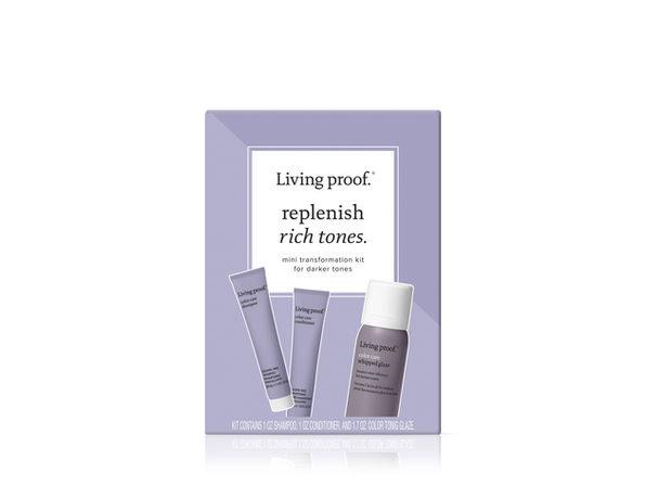 Living Proof Replenish Rich Tones Starter Kit For Darker Hair Color Care Set