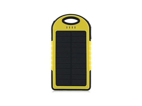 Water-Resistant Dual-USB Solar Charger (Yellow)